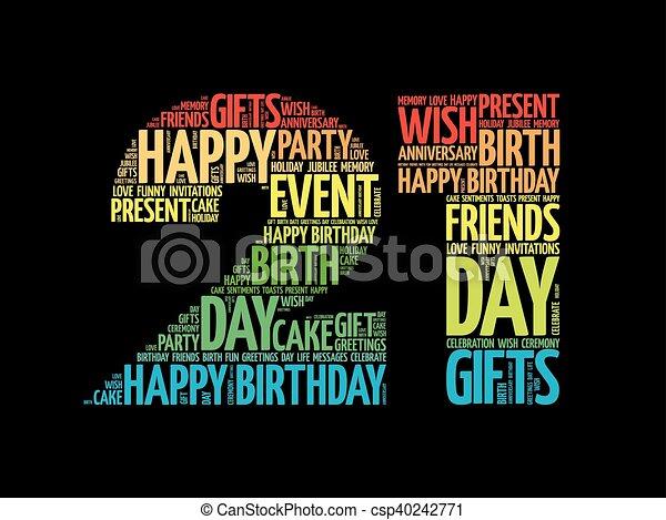 Happy 21st birthday word cloud - csp40242771