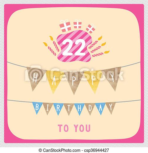 Happy 22nd Birthday Card Happy 22nd Birthday Anniversary Card With