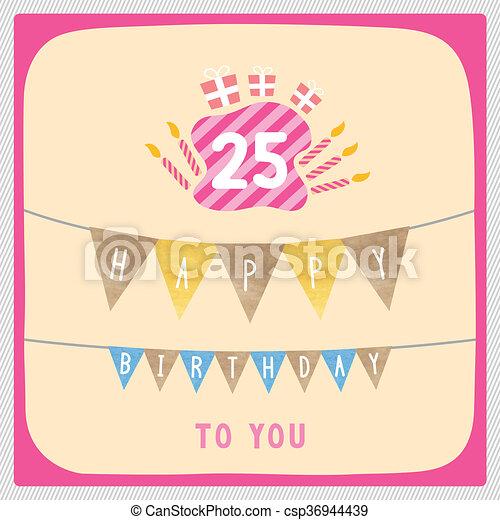 Happy 25th Birthday Card Happy 25th Birthday Anniversary Card With