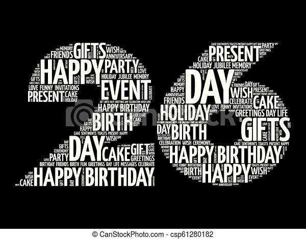 Marvelous Happy 26Th Birthday Word Cloud Collage Concept Personalised Birthday Cards Paralily Jamesorg