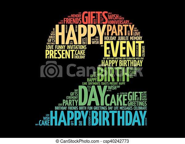 Happy 2nd birthday word cloud - csp40242773
