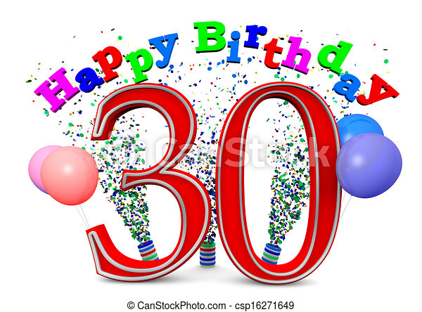 happy 30th birthday rh canstockphoto com funny 30th birthday clipart 40th birthday clipart free