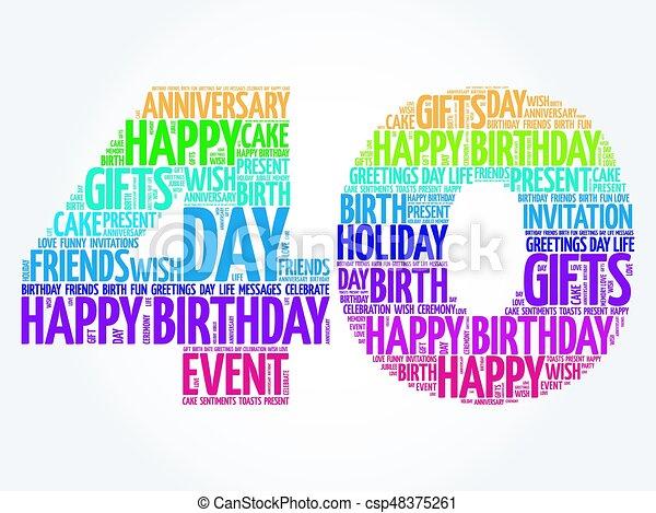 Happy 40th birthday word cloud - csp48375261