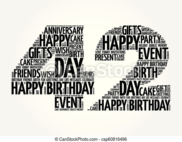 Happy 42nd Birthday Word Cloud Collage Concept