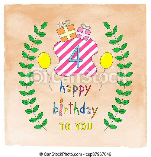 Happy 4th Birthday Card On Orange Watercolor Happy 4th Birthday