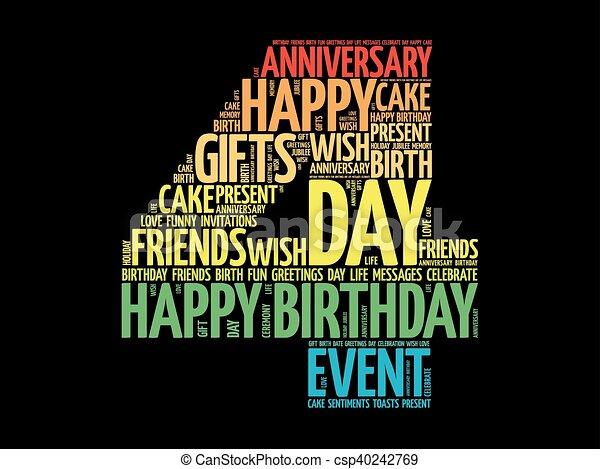 Happy 4th birthday word cloud - csp40242769