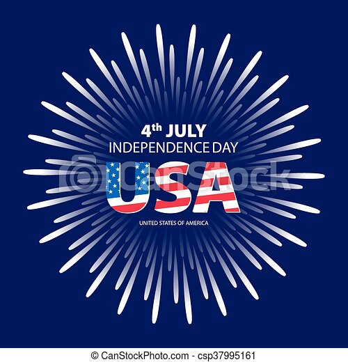 happy 4th july independence day with fireworks background vector