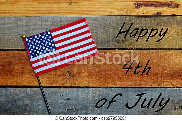 Happy 4th of July - American Flag - csp27958231