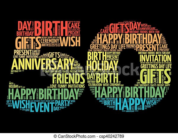 Happy Th Birthday Word Cloud Collage Concept - Best of free clip art 50th anniversary design