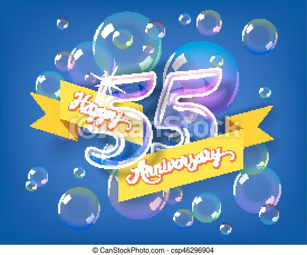 Happy 55th Anniversary Glass Bulb Numbers Set