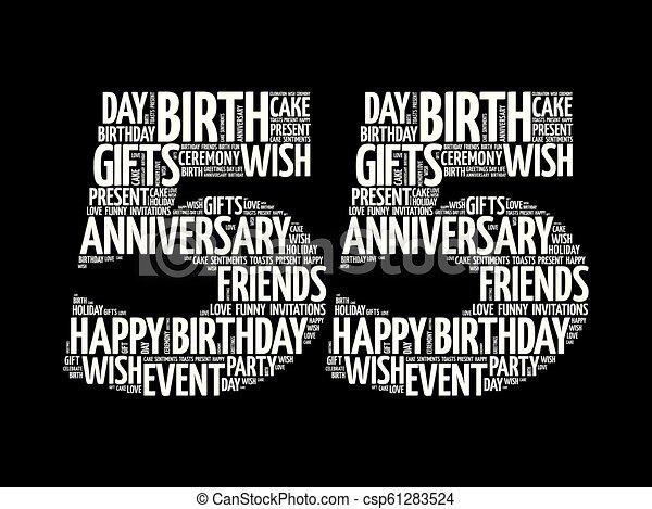 Happy 55th Birthday Word Cloud