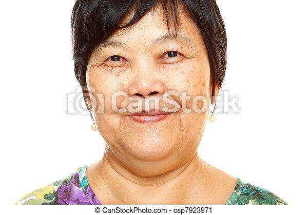 Happy 60s Senior Asian Woman on white background - csp7923971