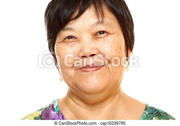 Happy 60s Senior Asian Woman on white background - csp16339795