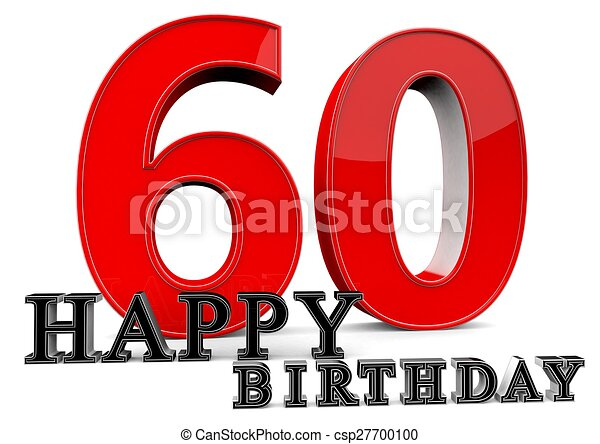 happy 60th birthday large red 60 with happy birthday in front rh canstockphoto com Happy 60th Birthday Signs Clip Art happy 60th birthday clip art free