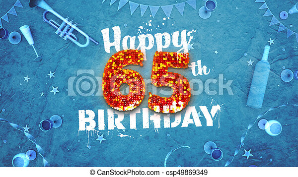 Happy 65th Birthday Card With Beautiful Details
