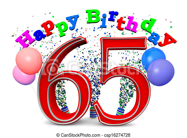 Happy 65th Birthday With Ballons And The Age