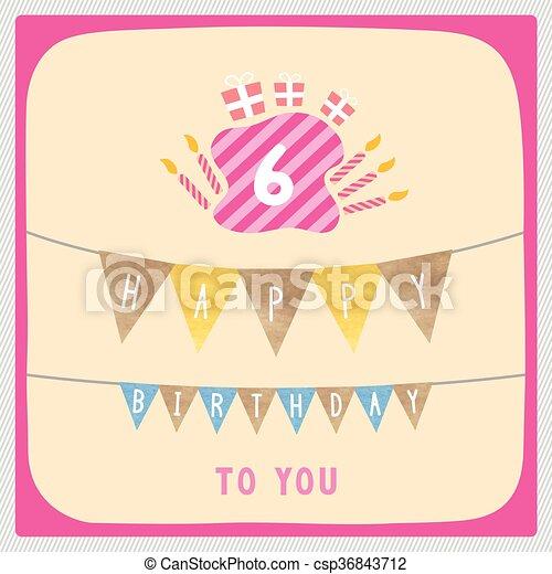 Happy 6th birthday card happy 6th birthday anniversary card happy 6th birthday card csp36843712 bookmarktalkfo Images