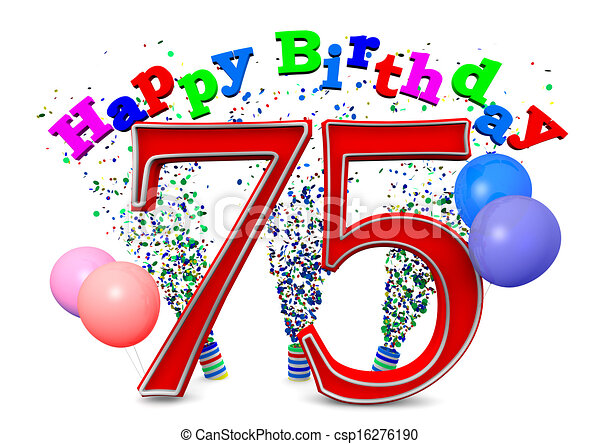 Happy 75th birthday Happy birthday with ballons and the age stock