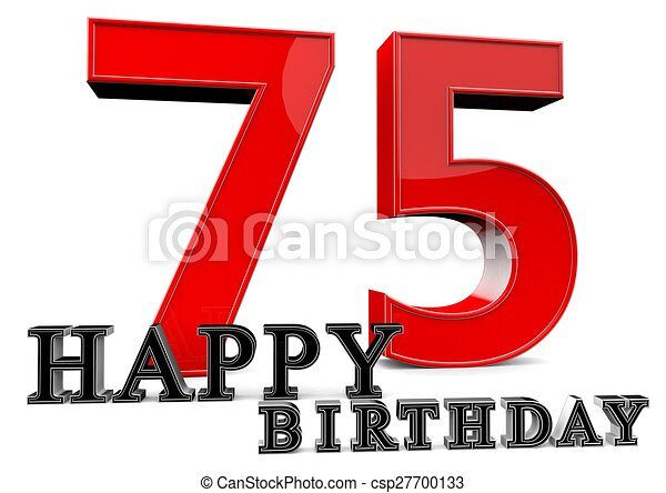 Happy 75th birthday Large red 75 with happy birthday in drawings