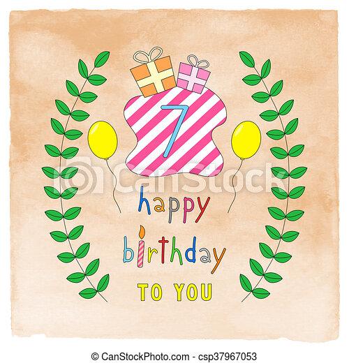 Happy 7th Birthday Card On Orange Watercolor Happy 7th Birthday