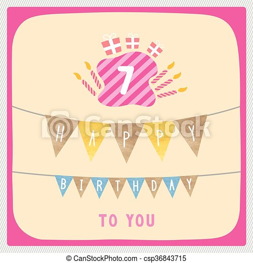 Happy 7th Birthday Card Happy 7th Birthday Anniversary Card With