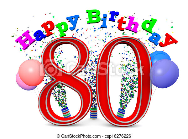 Happy 80th Birthday Happy Birthday With Ballons And The Age