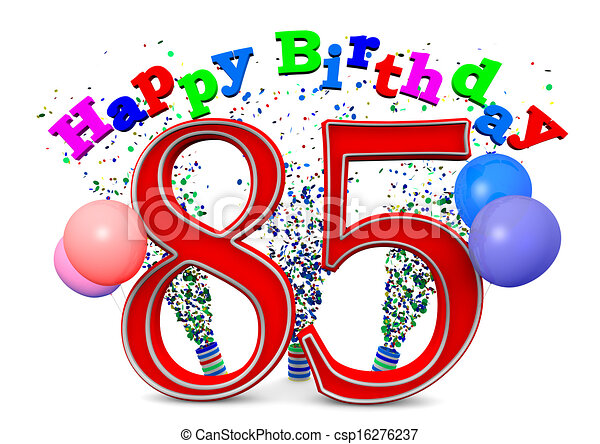 Happy 85th Birthday With Ballons And The Age