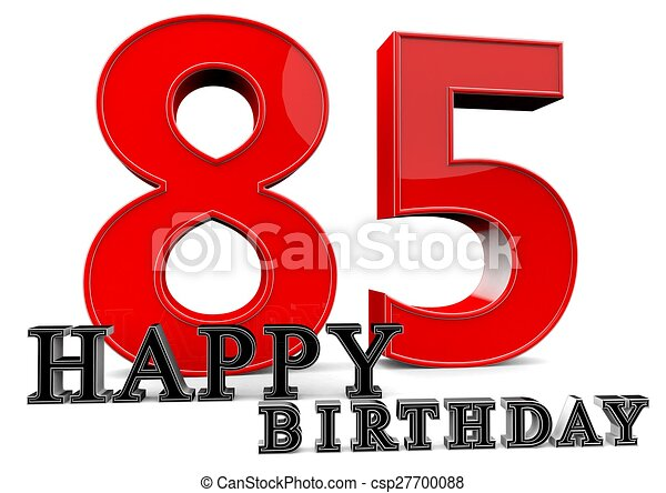 Happy 85th Birthday Large Red 85 With In Front