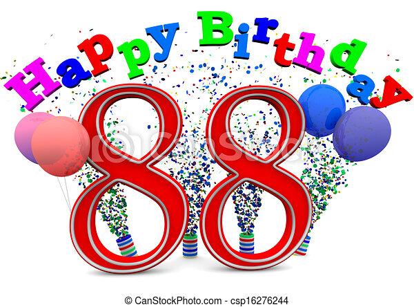 Happy 88th Birthday Large Red 88 With In Front