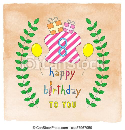 Happy 8th birthday card on orange watercolor happy 8th stock happy 8th birthday card on orange watercolor csp37967050 bookmarktalkfo Image collections