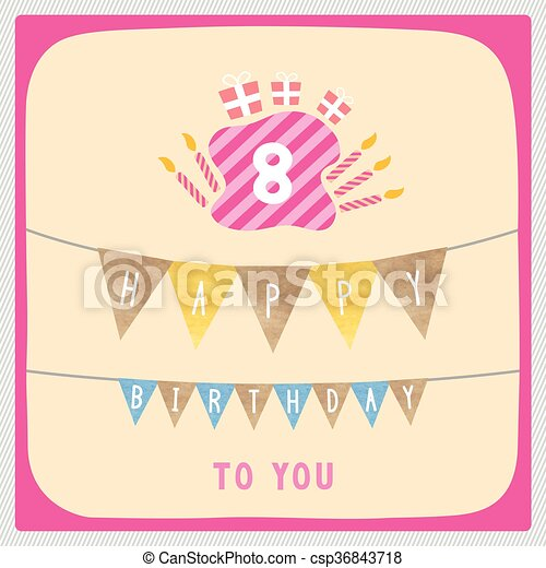 Happy 8th birthday card happy 8th birthday anniversary card happy 8th birthday card csp36843718 bookmarktalkfo Image collections