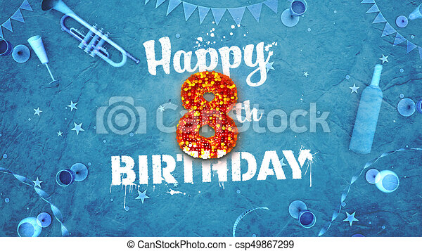 Happy 8th birthday card with beautiful details such as wine stock happy 8th birthday card with beautiful details csp49867299 bookmarktalkfo Image collections