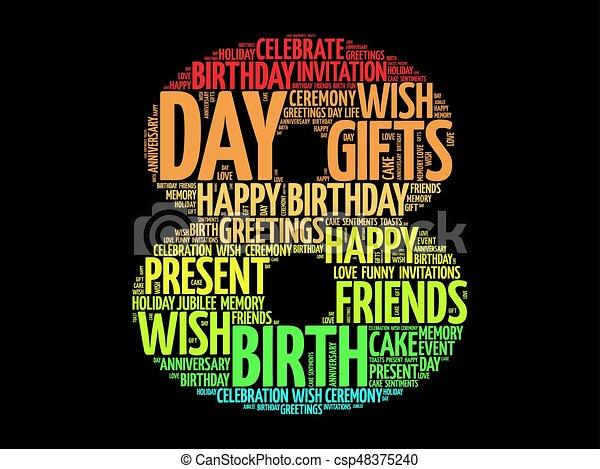 Happy 8th birthday word cloud - csp48375240