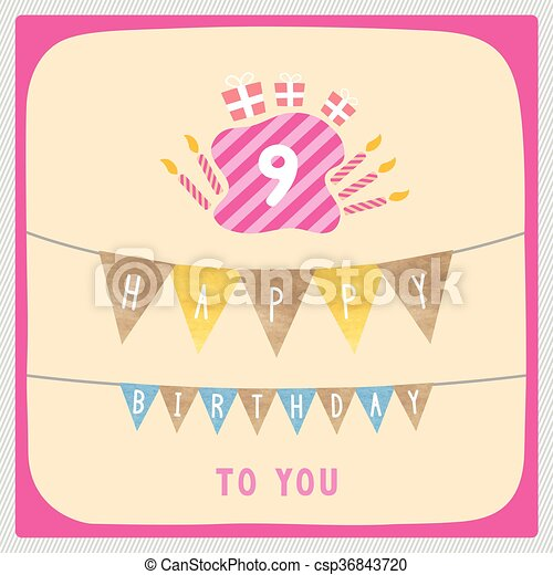 Happy 9th Birthday Card Happy 9th Birthday Anniversary Card With