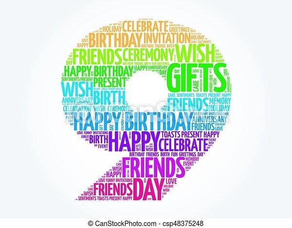 Happy 9th birthday word cloud - csp48375248