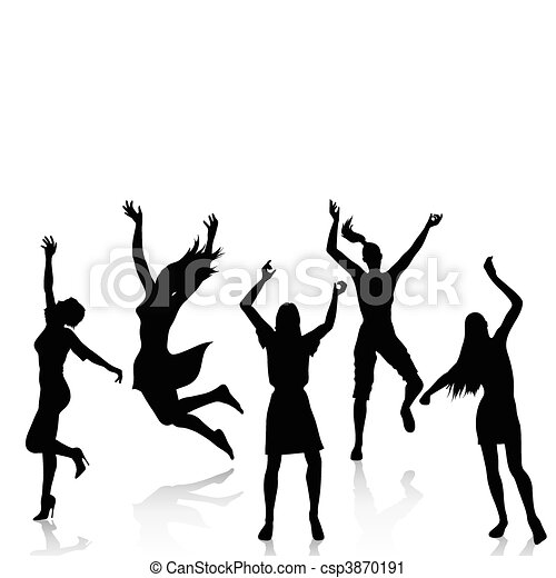 Happy Active Women Silhouettes Vector Silhouettes Of Happy Woman