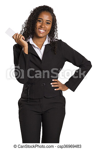 Happy African American business woman holding visit card - csp36969483