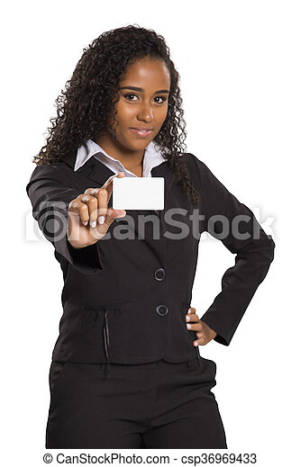 Happy African American business woman holding visit card - csp36969433