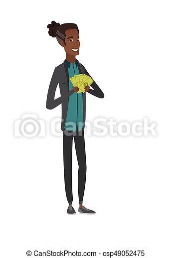 Happy african-american businessman holding money. - csp49052475