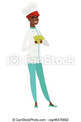 Happy african-american chef cook holding money. - csp46476662