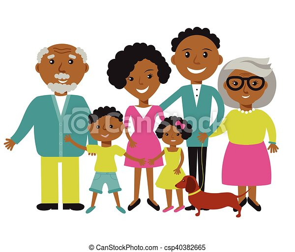 happy african american family of four members parents their clip rh canstockphoto com