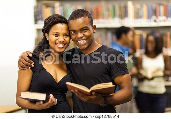happy african american university couple - csp12788514