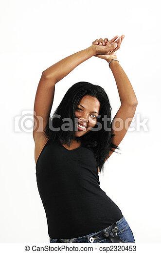 Happy african american woman - csp2320453