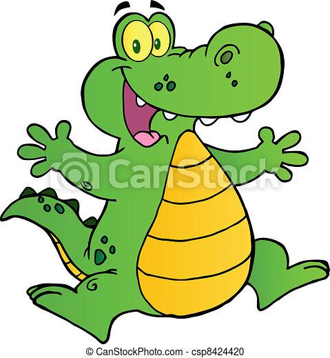 Happy Alligator Jumping - csp8424420