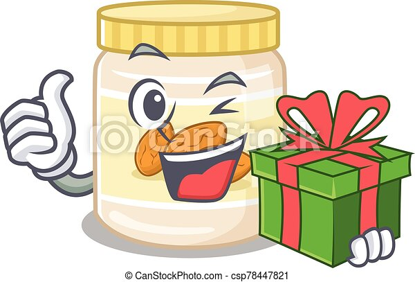 Happy almond butter character having a gift box - csp78447821