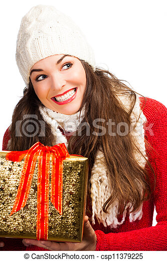 Happy amiling woman holding Christmas gift - csp11379225
