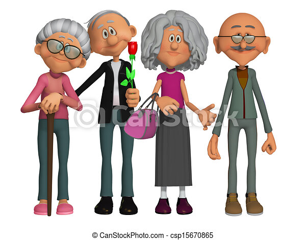 happy and motivated old people 3d stock illustration search clip rh canstockphoto com Old People Clip Art Black and White Old People Eating Clip Art