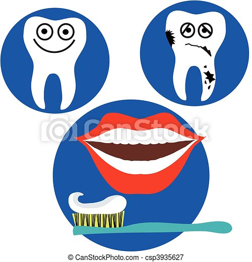 Happy And Sad Tooth And Red Lips Mouth On Blue Background