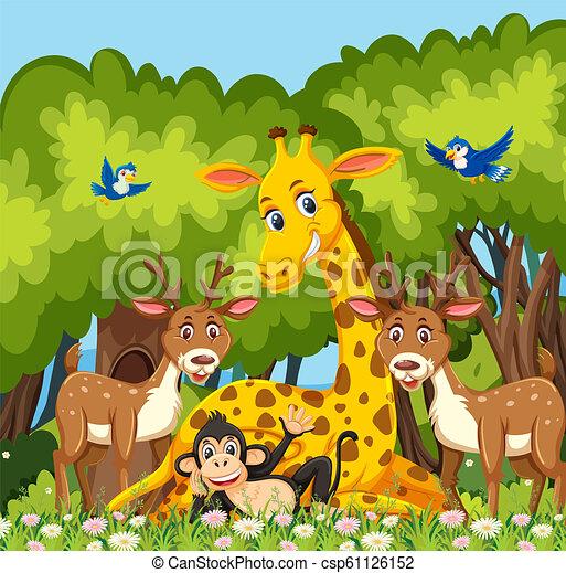 Happy animal in the jungle - csp61126152