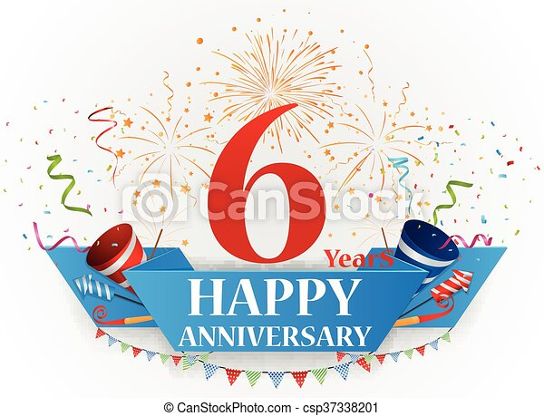 Vector illustration of happy anniversary celebration with